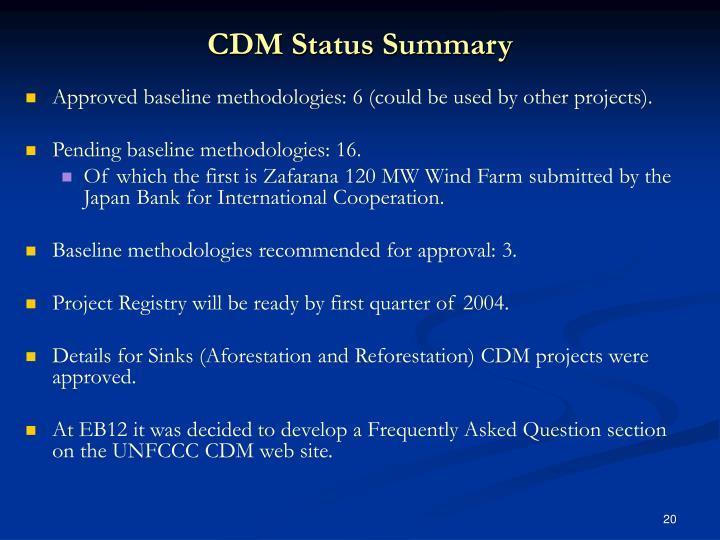 CDM Status Summary