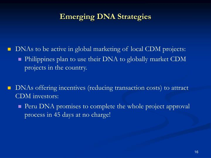Emerging DNA Strategies