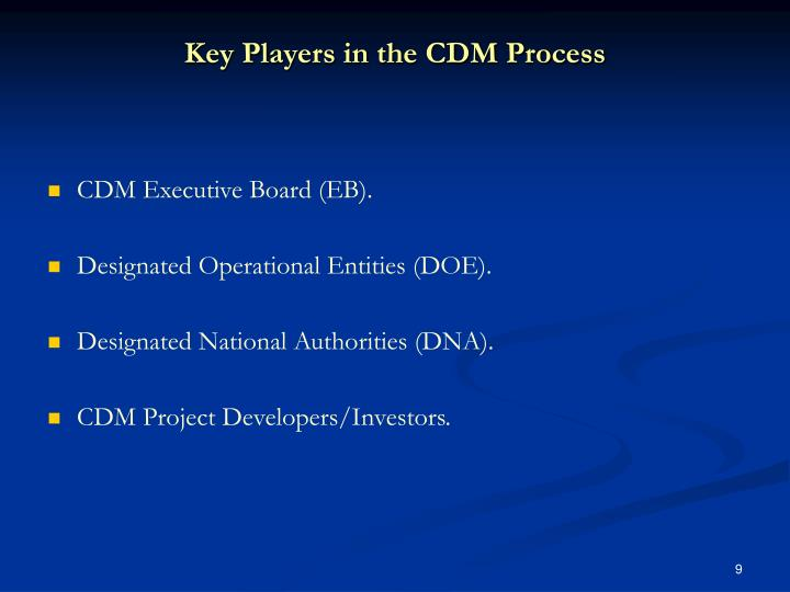 Key Players in the CDM Process