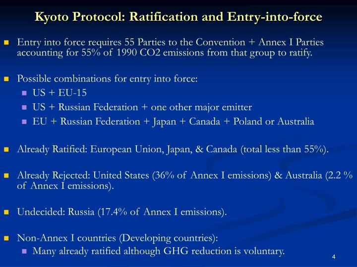 Kyoto Protocol: Ratification and Entry-into-force