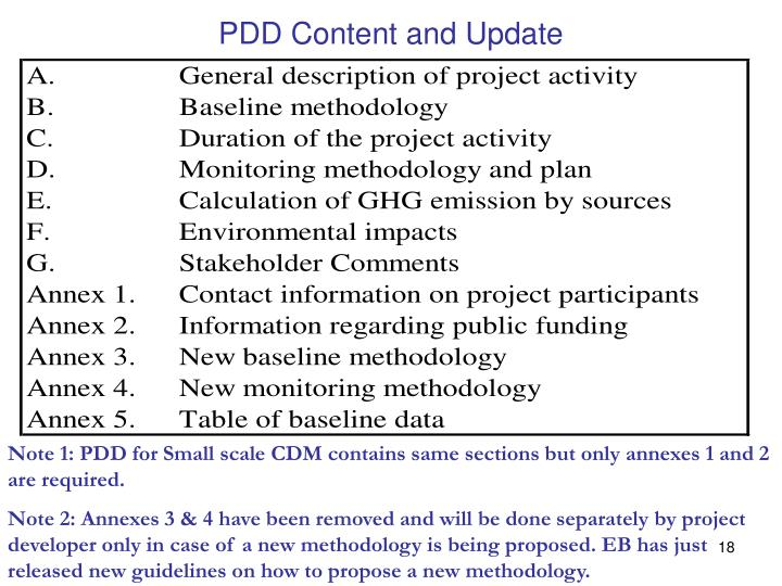 PDD Content and Update