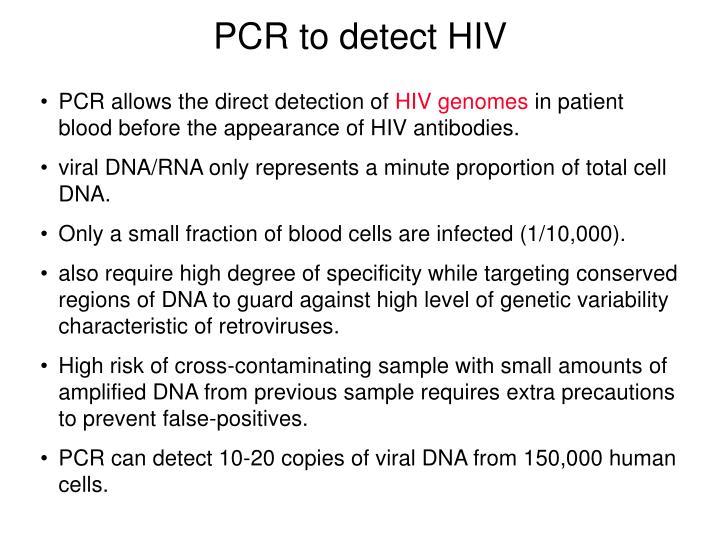 PCR to detect HIV