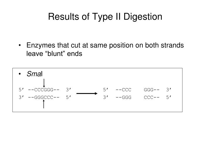 Results of Type II Digestion