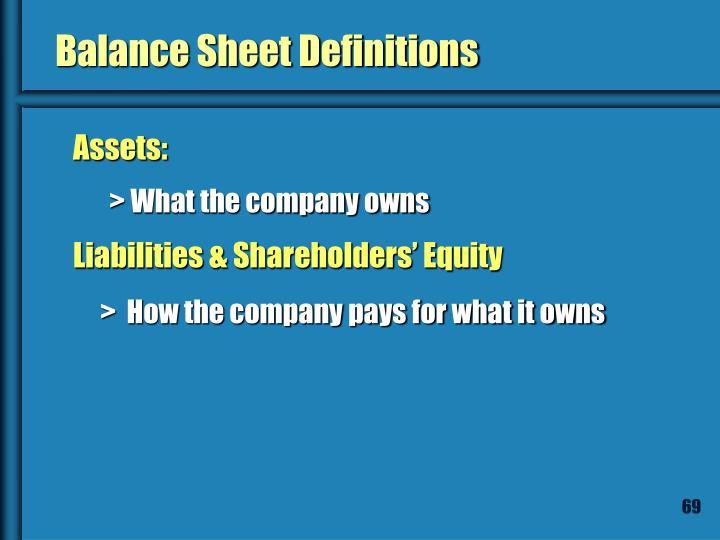 Balance Sheet Definitions