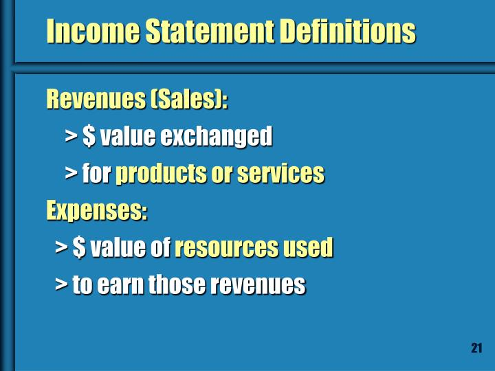 Income Statement Definitions