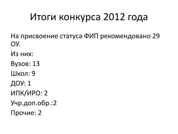 Итоги конкурса 2012 года