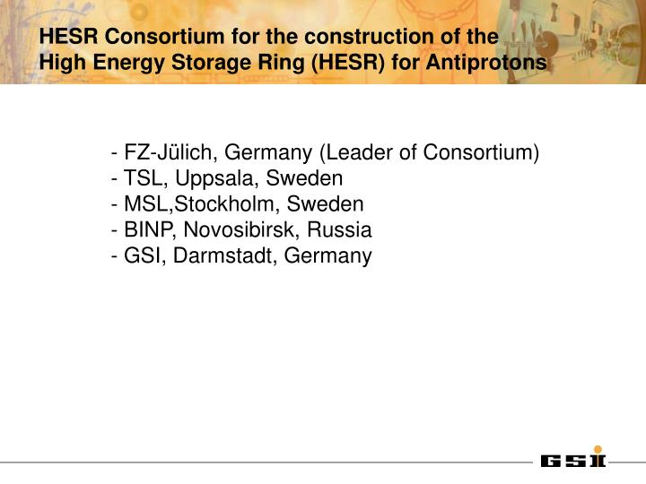HESR Consortium for the construction of the