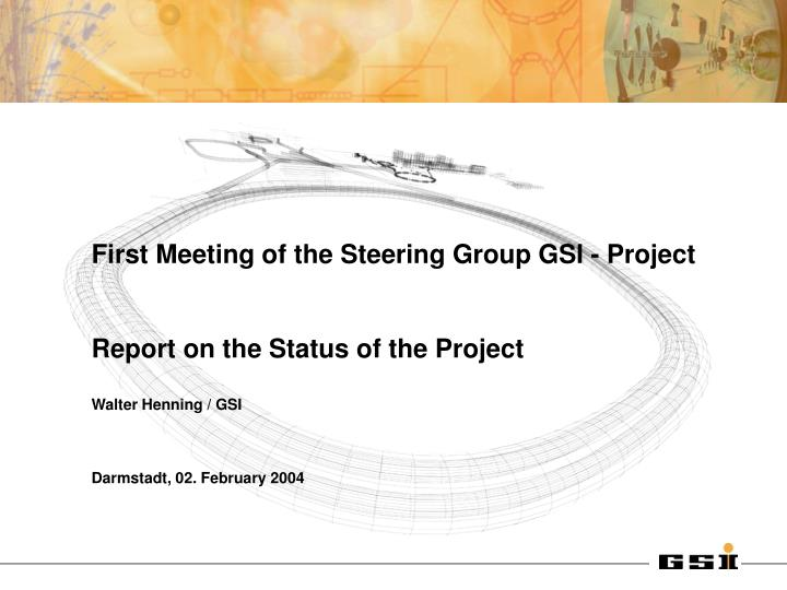 First Meeting of the Steering Group GSI - Project