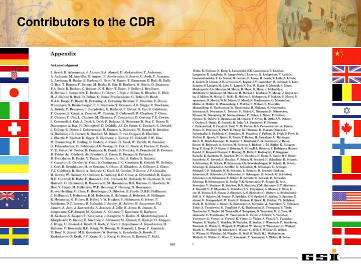 Contributors to the CDR