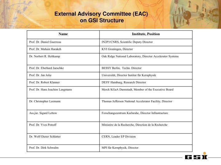External Advisory Committee (EAC)
