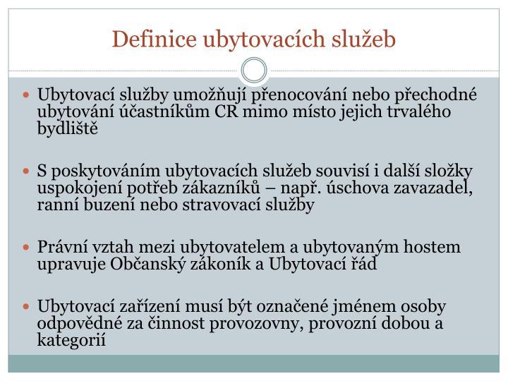 Definice ubytovacích služeb