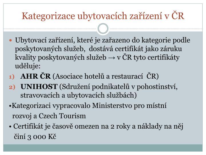 Kategorizace ubytovacích zařízení v ČR