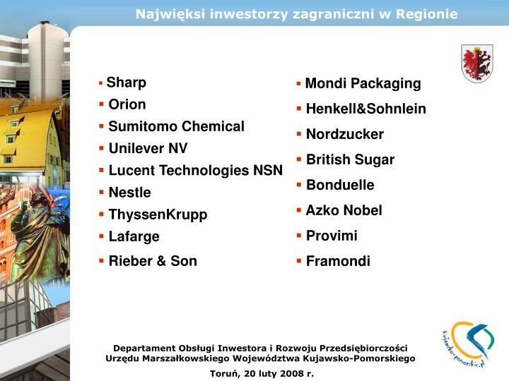 Najwięksi inwestorzy zagraniczni w Regionie