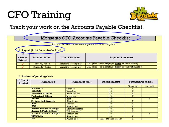 Track your work on the Accounts Payable Checklist.