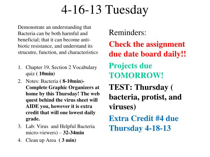 4-16-13 Tuesday