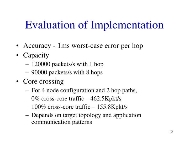 Evaluation of Implementation
