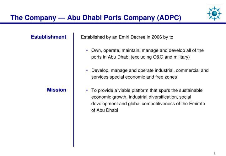 The Company — Abu Dhabi Ports Company (ADPC)