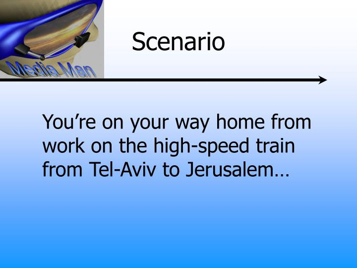 You're on your way home from work on the high-speed train from Tel-Aviv to Jerusalem…