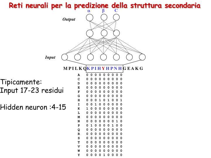 Reti neurali per la predizione della struttura secondaria