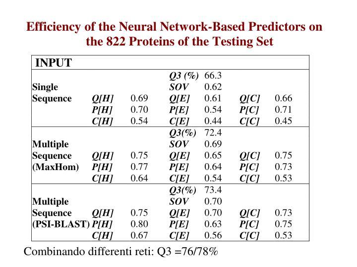Combinando differenti reti: Q3 =76/78%