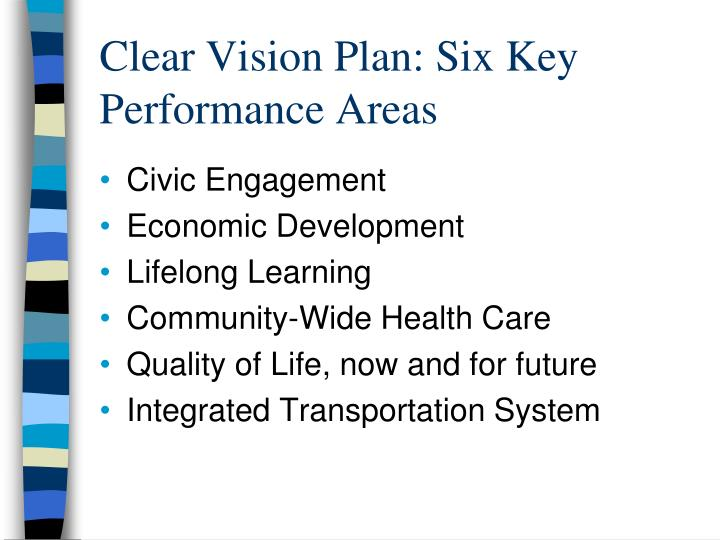 Clear Vision Plan: Six Key Performance Areas