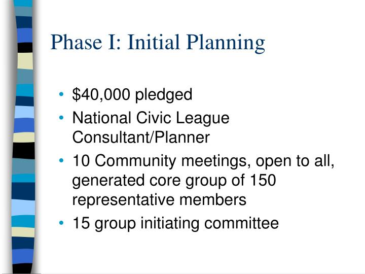 Phase I: Initial Planning