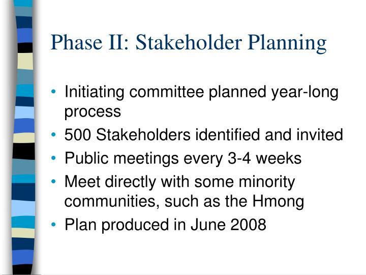 Phase II: Stakeholder Planning