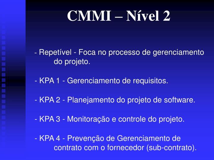 CMMI – Nível 2