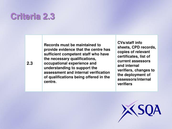 Criteria 2.3