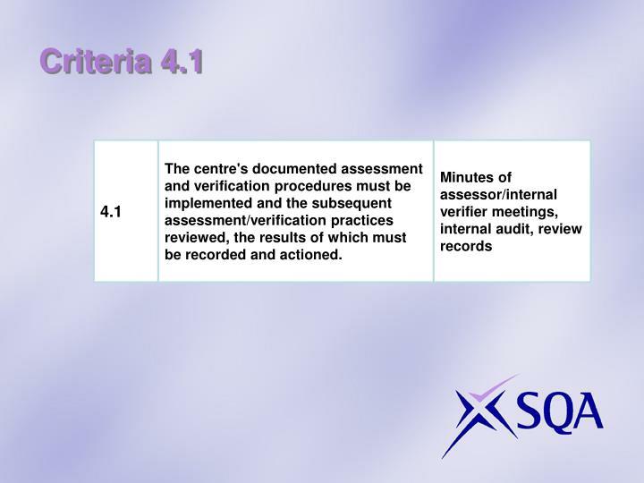 Criteria 4.1