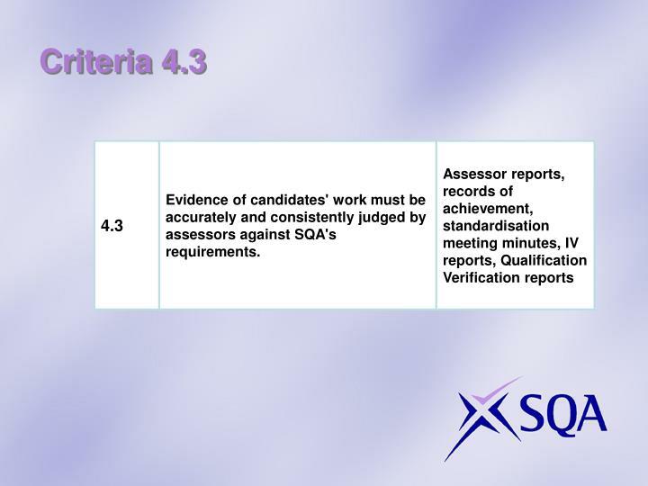 Criteria 4.3