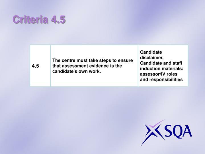 Criteria 4.5