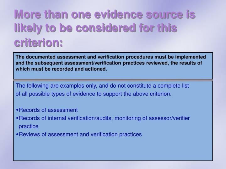 More than one evidence source is likely to be considered for this criterion: