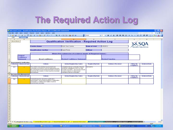 The Required Action Log