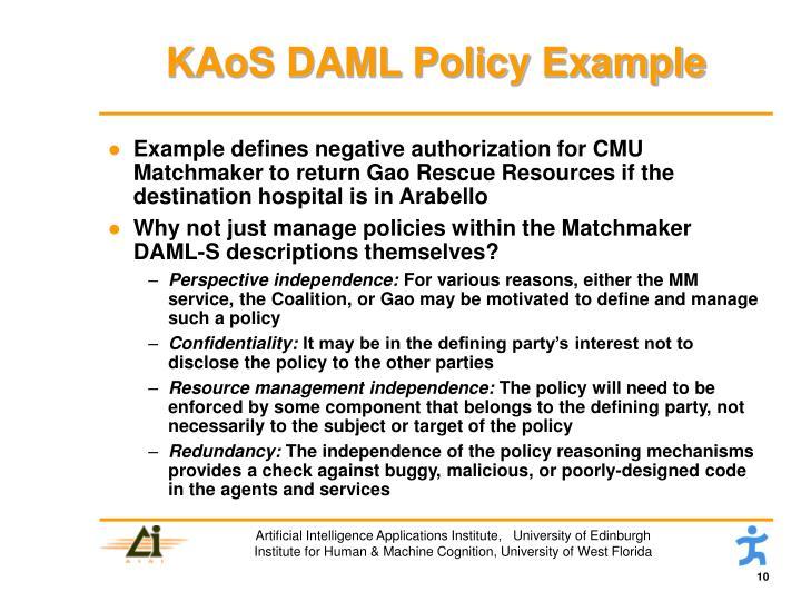 KAoS DAML Policy Example