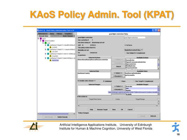 KAoS Policy Admin. Tool (KPAT)