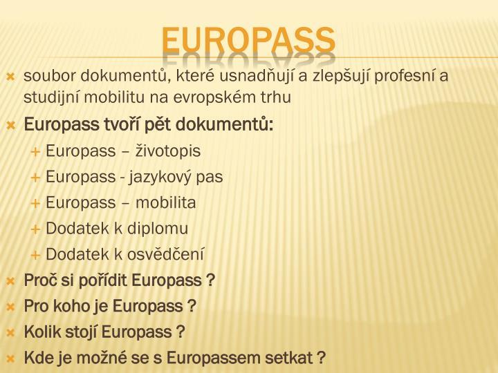 soubor dokumentů, které usnadňují a zlepšují profesní a studijní mobilitu na evropském trhu