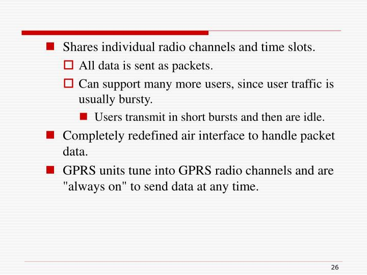 Shares individual radio channels and time slots.