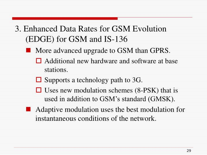 3. Enhanced Data Rates for GSM Evolution (EDGE) for GSM and IS-136