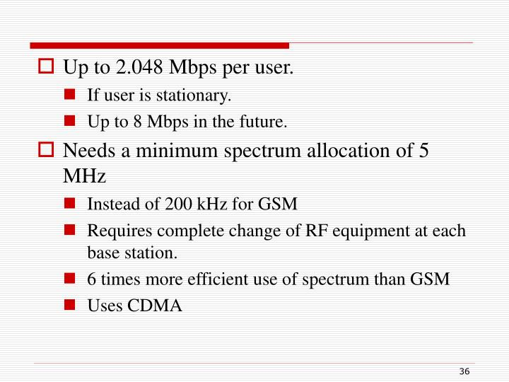 Up to 2.048 Mbps per user.