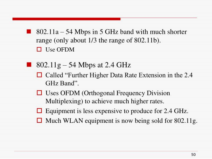 802.11a – 54 Mbps in 5 GHz band with much shorter range (only about 1/3 the range of 802.11b).