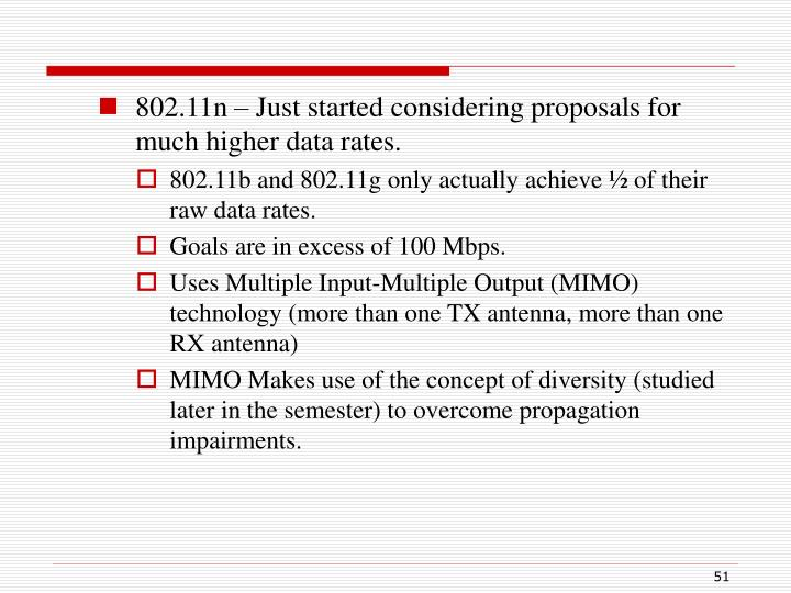802.11n – Just started considering proposals for much higher data rates.