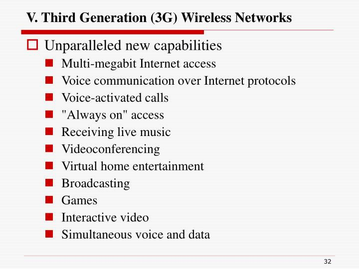 V. Third Generation (3G) Wireless Networks