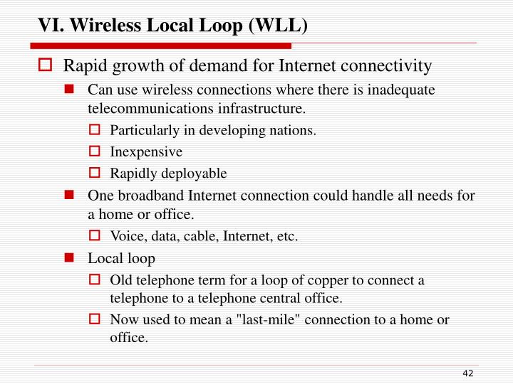 VI. Wireless Local Loop (WLL)