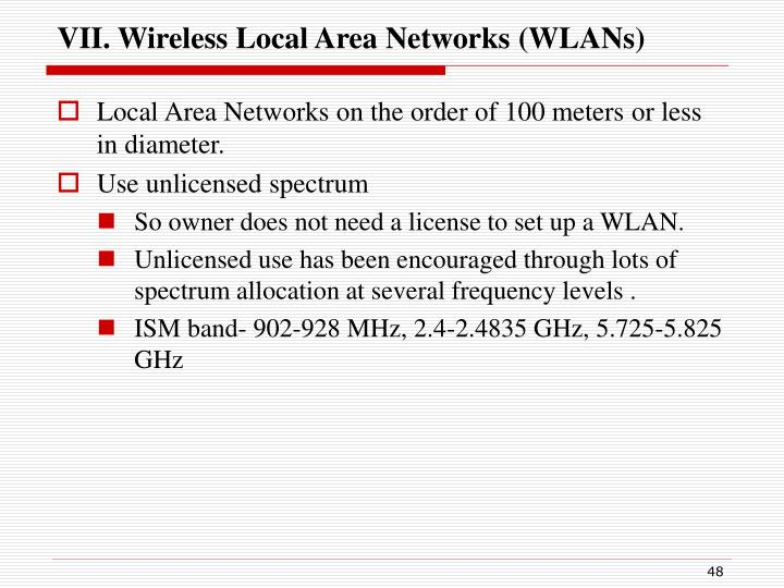 VII. Wireless Local Area Networks (WLANs)