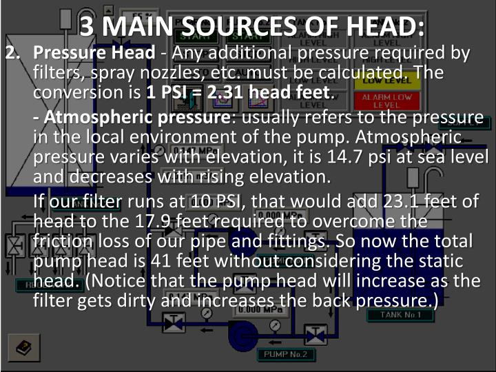 3 MAIN SOURCES OF HEAD: