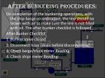 after bunkering procedures