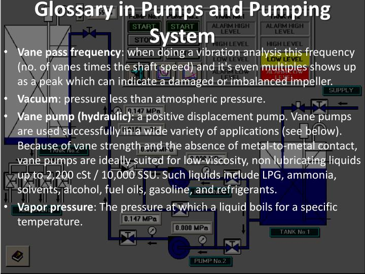 Glossary in Pumps and Pumping System