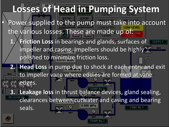 Losses of Head in Pumping System