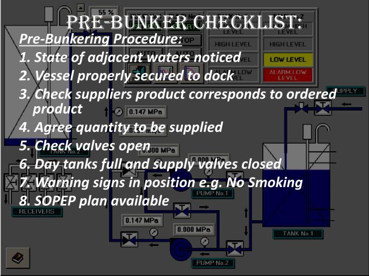 Pre-Bunker Checklist: